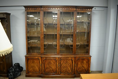 Lot 118 - Reprodux George III style mahogany breakfront library bookcase.