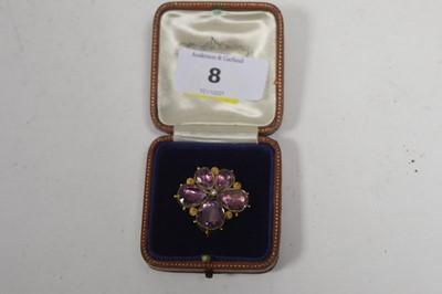 Lot 8 - A 19th Century amethyst brooch.