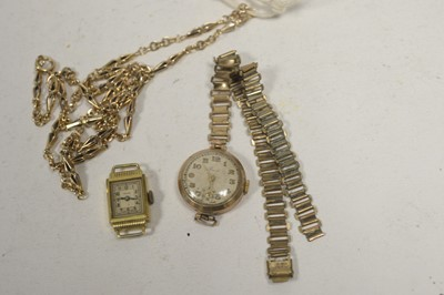 Lot 10 - A yellow metal fancy link chain; and two watches.