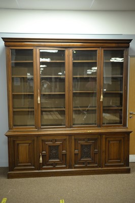 Lot 230 - Early 20th C walnut bookcase.