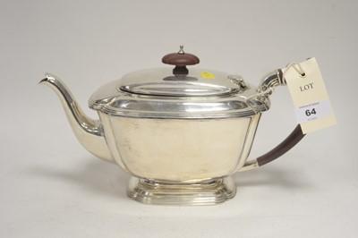 Lot 64 - A silver teapot.