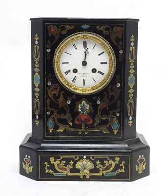 Lot 765 - A 19th Century inlaid ebonised mantel clock.