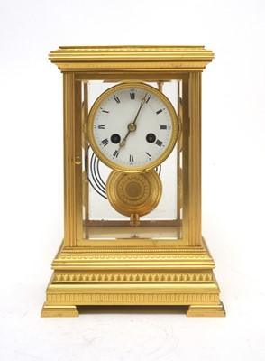 Lot 766 - A 19th C French ormolu cased mantel clock.