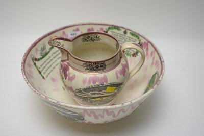 Lot 423 - Moore & Co, Southwick, Sunderland pink lustre jug and bowl