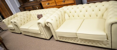 Lot 203 - Three-piece leather drawing room suite by Saxon.