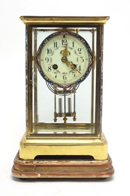 Lot 761 - Early 20th C lacquered brass-cased French mantel clock.