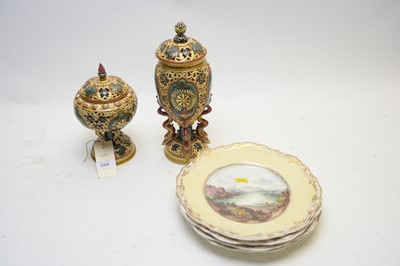 Lot 298 - A pair of Zsolnay covered vases; and four Copeland & Garrett plates.