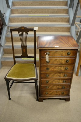 Lot 12 - Mahogany music cabinet; and an Edwardian bedroom chair.