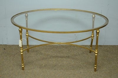 Lot 44 - 20th Century oval and gilt metal coffee table