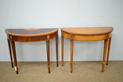 Lot 19 - Two Georgian style semi-circular side tables.
