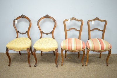 Lot 20 - Two Victorian balloon back dining chairs; and pair of French style salon chairs.