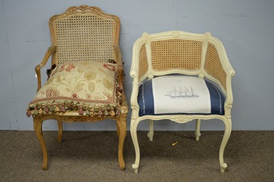 Lot 21 - French style canework armchair; and a French style tub armchair.