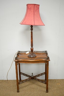 Lot 15 - Georgian style silver table; and a table lamp with red shade.