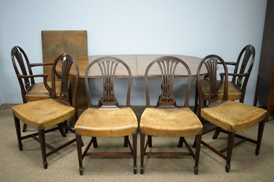 Lot 67 - 20th C dining table; and six chairs.