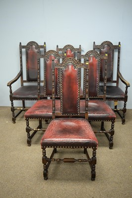 Lot 36 - A set of six Jacobean style carved oak dining chairs