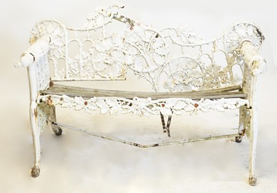 Lot 236 - Late 19th C Coalbrookdale style white painted cast iron garden bench.
