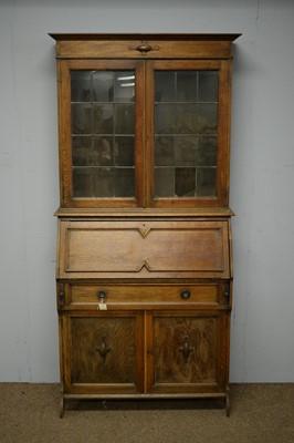 Lot 58 - 1940s oak bureau bookcase