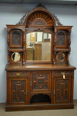 Lot 39 - Impressive Victorian carved mirror-back sideboard.