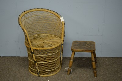 Lot 61 - 20th Century canework chair and footstool