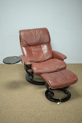Lot 66 - Ekornes Stressless reclining armchair and stool