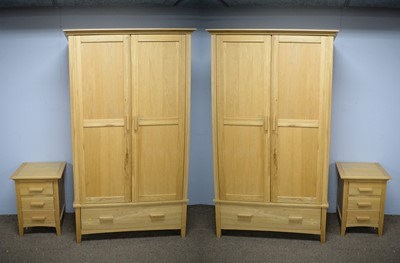 Lot 110 - Pair of Barker and Stonehouse oak wardrobes and pair of bedside cabinets