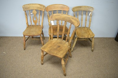 Lot 87 - Set of four elm dining chairs