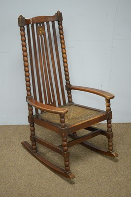 Lot 72 - Early 20th C oak Arts & Crafts rocking chair.