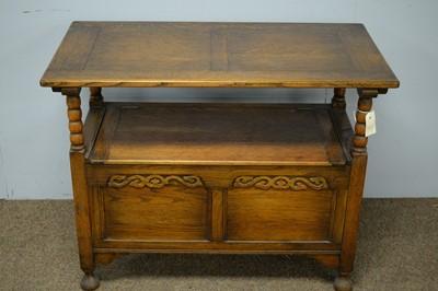 Lot 76 - 20th Century oak monk's bench