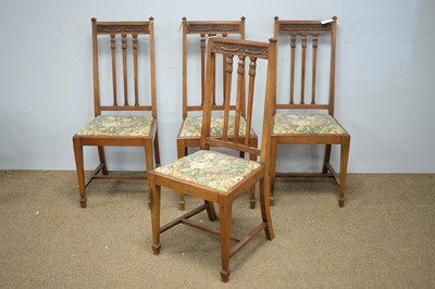 Lot 35 - Four early 20th C walnut dining chairs.