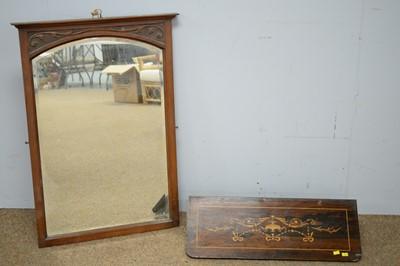 Lot 64 - Victorian walnut mirror and an Edwardian rosewood shelf
