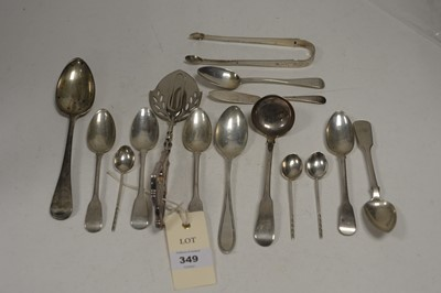 Lot 349 - Silver teaspoons, dessert spoons, ladle and other items