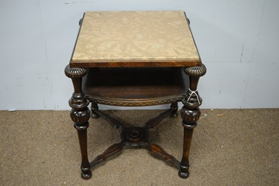Lot 86 - 20th Century Continental oak and marble topped side table