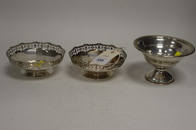 Lot 359 - A pair of silver bon bon dishes; and another.