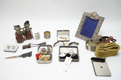 Lot 409 - Military badges belts and field glasses; and other items