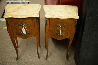 Lot 231 - Pair of reproduction French-style bedside tables.