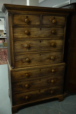 Lot 193 - George III mahogany chest-on-chest.