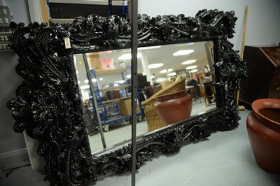 Lot 196 - Large and ornate rococo style wall mirror.