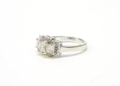 Lot 47 - Princess cut diamond dress ring