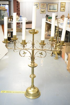 Lot 353 - A large brass ecclesiastical Gothic...