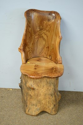 Lot 36 - Scottish elm carved trunk chair.