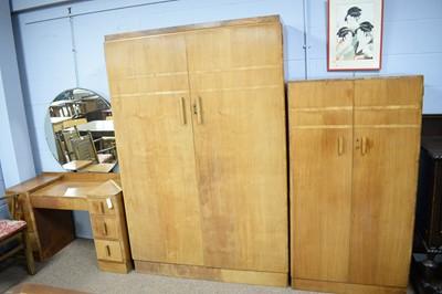 Lot 143 - Three-piece Art Deco walnut bedroom suite.