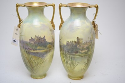 Lot 351 - J.H. Plant pair of Royal Doulton porcelain ovoid vases.