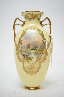 Lot 335 - J.H. Plant Royal Doulton hand-painted ovoid vase.