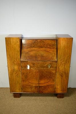 Lot 27 - Walnut Art Deco bureau bookcase.