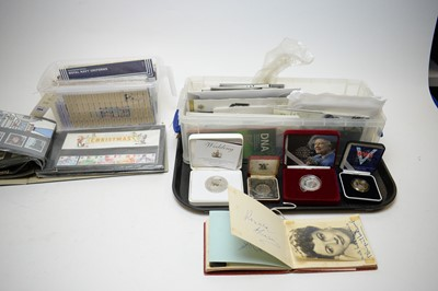 Lot 384 - Commemorative crowns, other coins, and stamps.