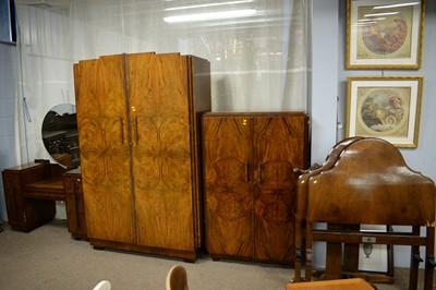 Lot 141 - Four-piece Art Deco walnut bedroom suite.