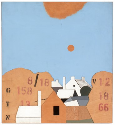 Lot 981 - Kenneth Rowntree - collage and mixed media on hardboard