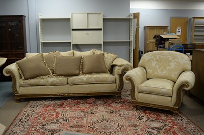 Lot 144 - Large Duresta sofa, matching armchair and a selection of scatter cushions.