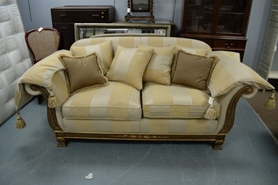 Lot 145 - Duresta two-seater sofa, loose seat and scatter cushions, arm covers.
