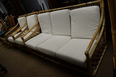 Lot 65 - Mid Century bamboo Italian style three-piece suite; and matching coffee table.